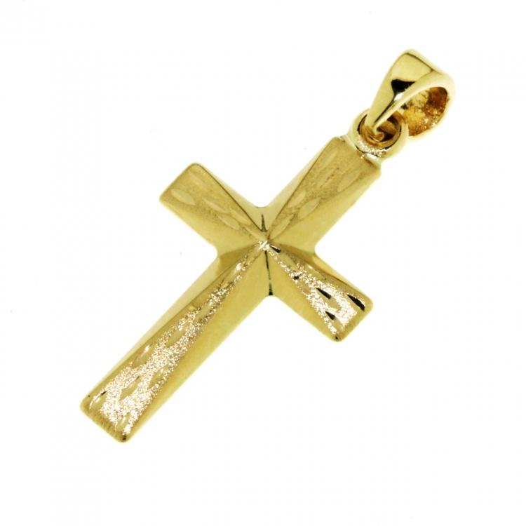 Zlatý přívěsek - zlatý křížek s gravírováním 26mm x 13 mm 585/0,82gr 1420019
