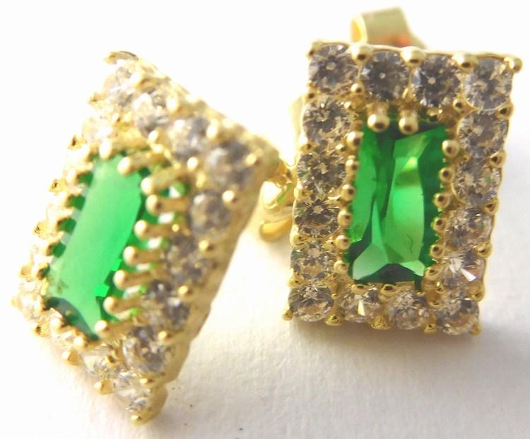 Zlaté náušnice poseté zirkony a zelenými smaragdy (2ks) 585/1,37gr 1136132