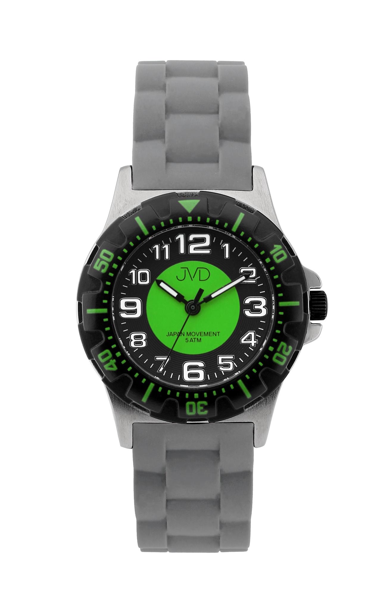 Chlapecké dětské vodotěsné sportovní hodinky JVD J7168.3 - 5ATM (zelené chlapecké voděodolné hodinky)