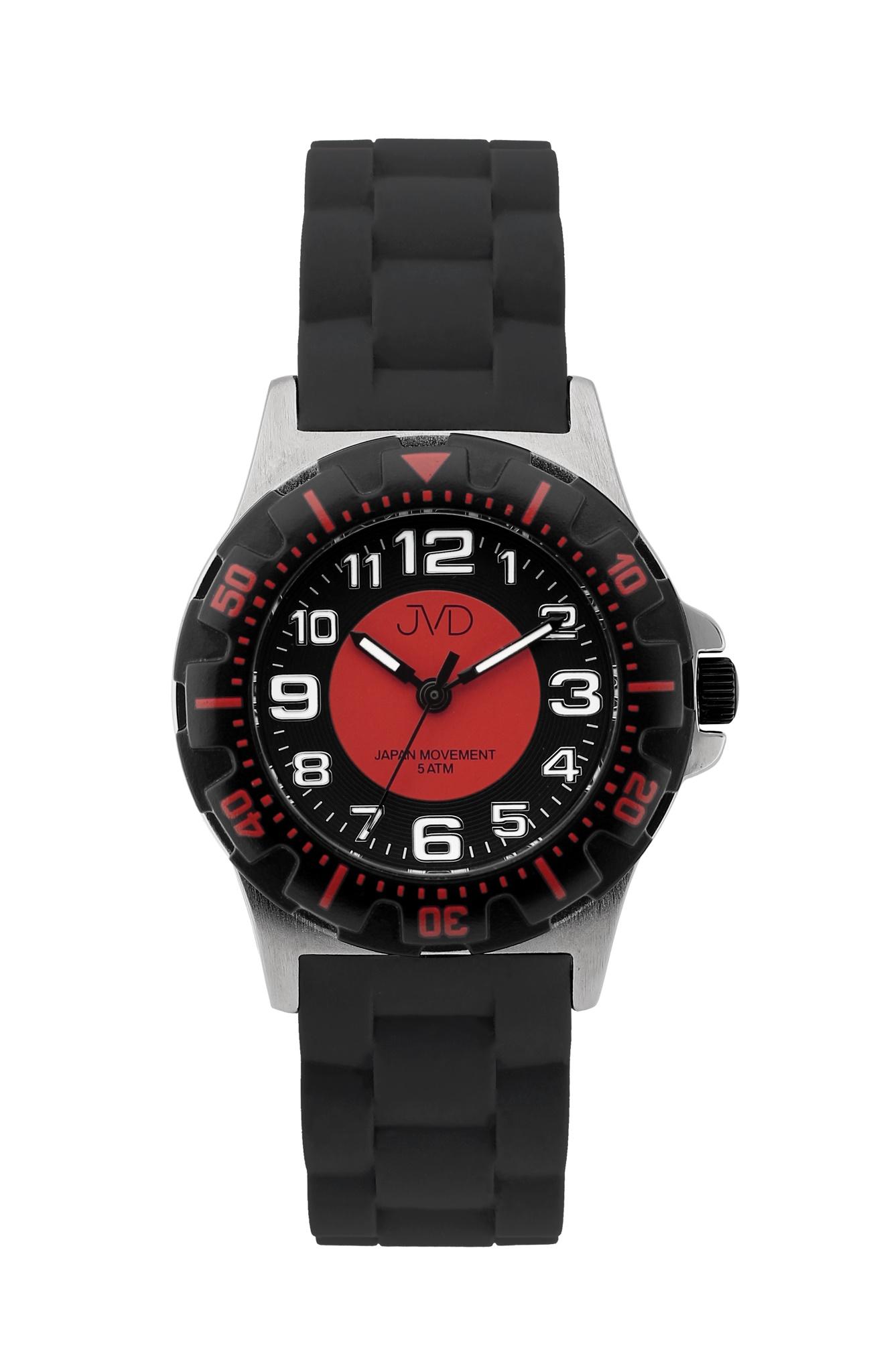 Chlapecké dětské vodotěsné sportovní hodinky JVD J7168.6 - 5ATM (červené chlapecké voděodolné hodinky)