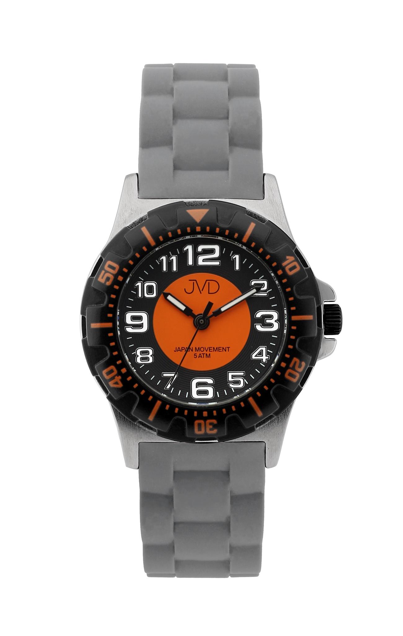 Chlapecké dětské vodotěsné sportovní hodinky JVD J7168.7 - 5ATM (oranžové chlapecké voděodolné hodinky)