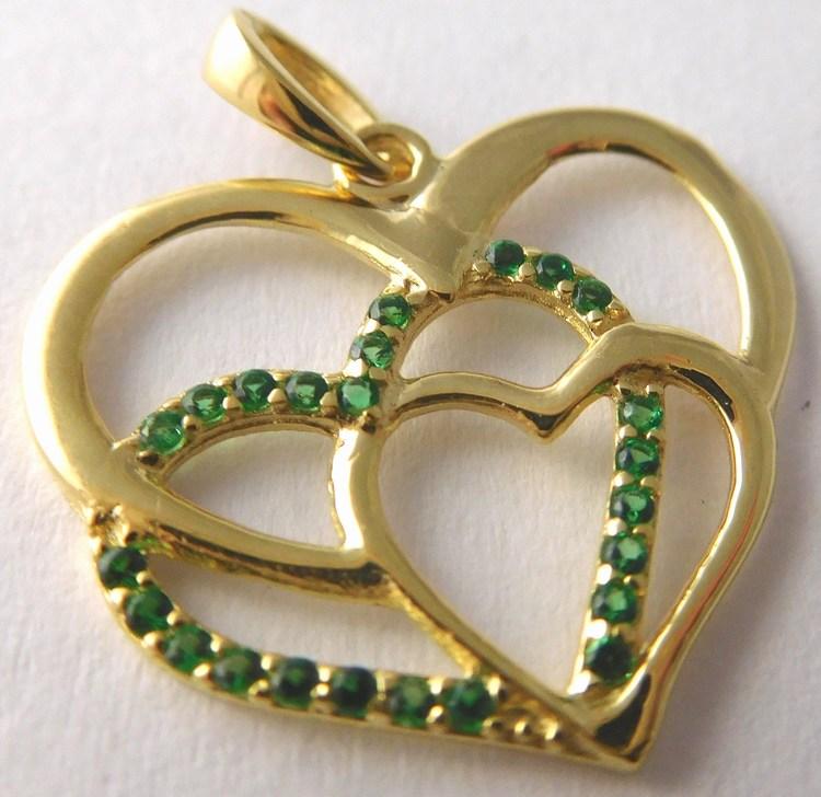 Velké zlaté dvojité srdíčko se zelenými smaragdy 585/1,17gr 1126027