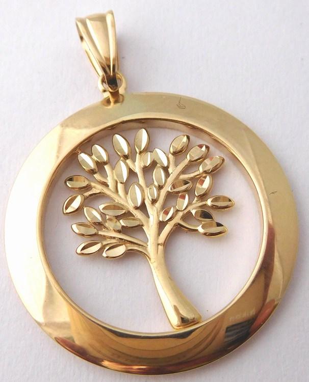 Mohutný velký zlatý strom života - zlatý přívěsek 585/2,09gr H787 (POŠTOVNÉ ZDARMA!!)
