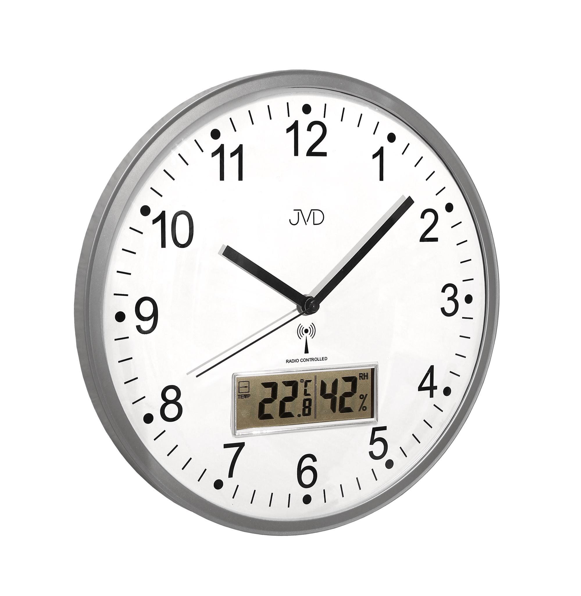 Přesné rádiem řízené nástěnné hodiny JVD RH78.1 (s teploměrem a vlhkoměrem)