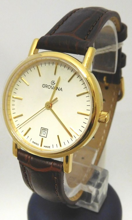 b559e477f Dámské luxusní švýcarské hodinky Grovana 3229.1513 na koženém pásku ...