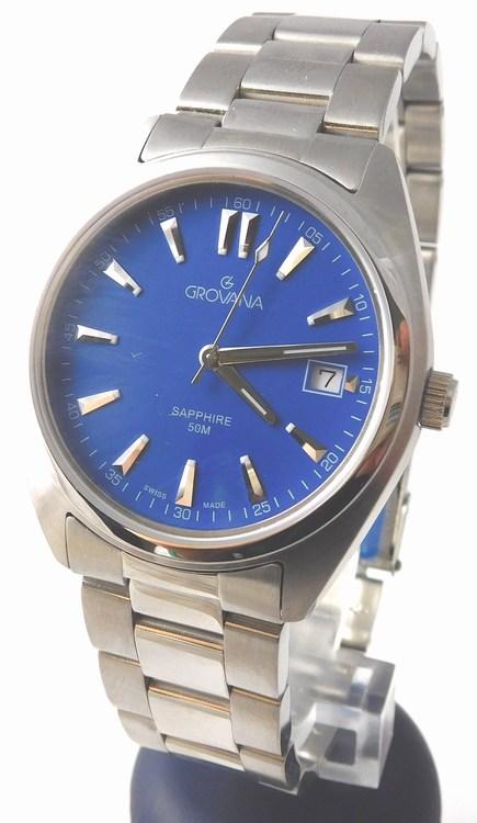 Pánské luxusní ocelové švýcarské hodinky Grovana 1565.1135 s modrým číselníkem (1565.1135 - POŠTOVNÉ ZDARMA)