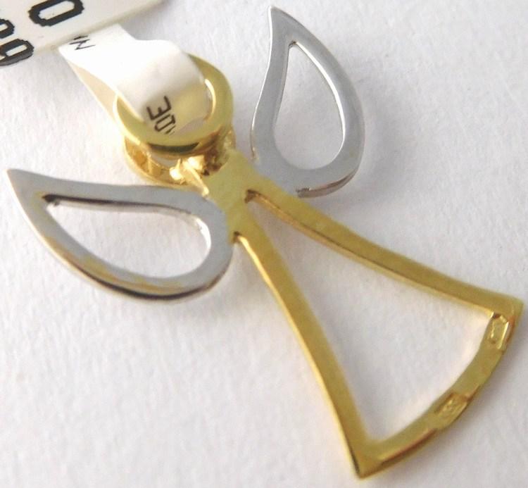 Zlatý andělíček ze žlutého a bílého zlata - přívěsek 585/0,67gr 6820029 (6820029)