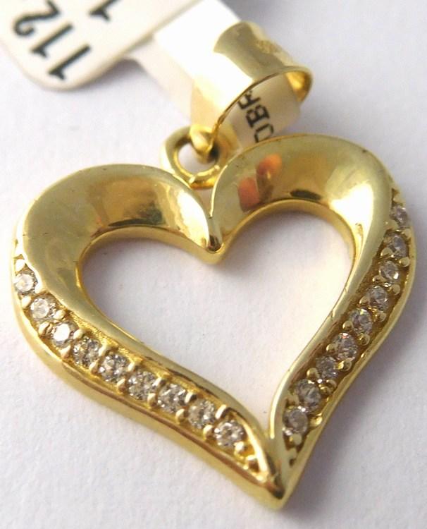 0e487e43f Luxusní velký zlatý přívěsek - zlaté srdce se zirkony 18ks 585/1,05gr  1124002