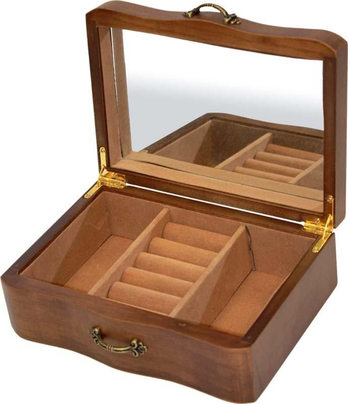 Jednopatrová dřevěná šperkovnice - zvlněná 13759/77750