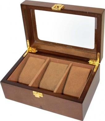 Dřevěná prosklená šperkovnice na hodinky 14895/77747