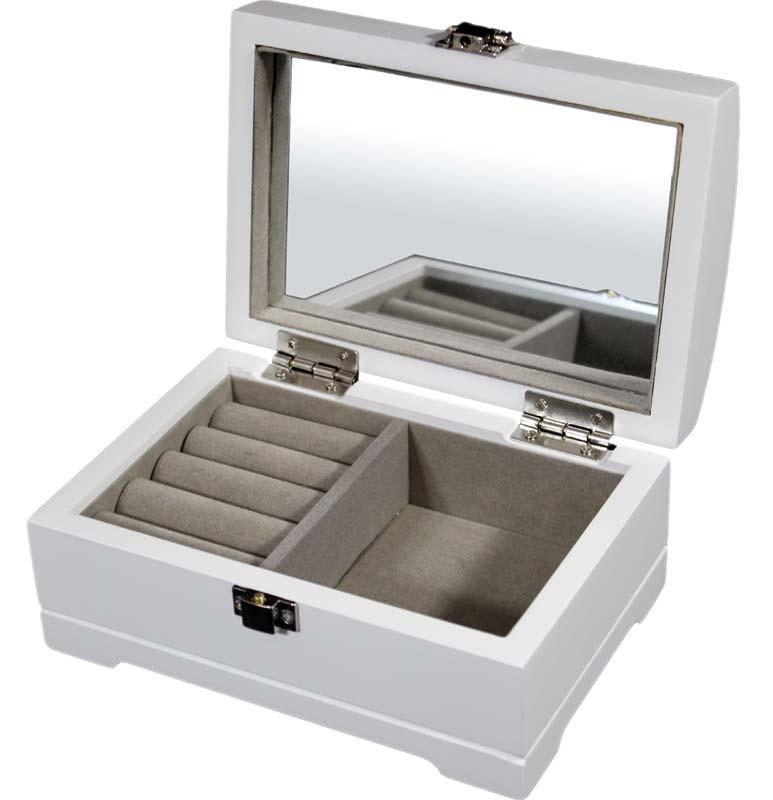 Jednopatrová bílá dřevěná šperkovnice 13544/81141