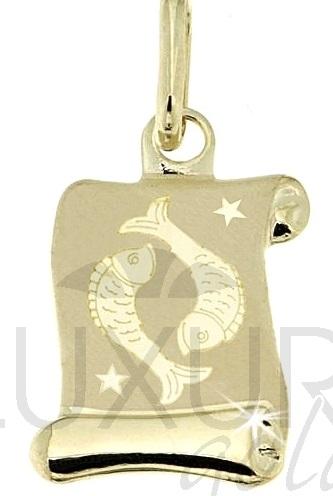 Zlatý přívěsek - zlaté znamení RYBY na pergamenu 585/0,42gr 1322006