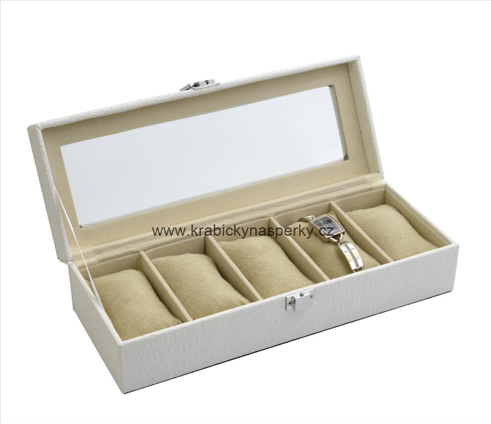 Střední bílá šperkovnice pro patery hodinky - SP-936/A20