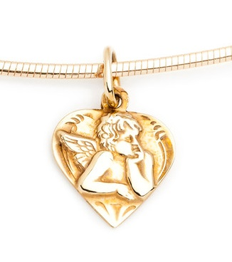 Dámský zlatý přívěsek andělíček v srdíčku cca 585/1,05gr 241040881 (241040881 - POŠTOVNÉ ZDARMA)