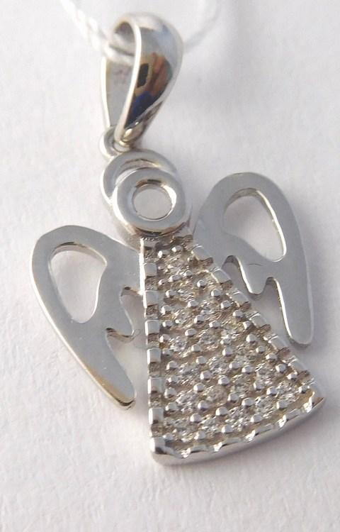 Zlatý přívěšek z bílého zlata se zirkony - andělíček 585/1,20gr H802 (POŠTOVNÉ ZDARMA!!)