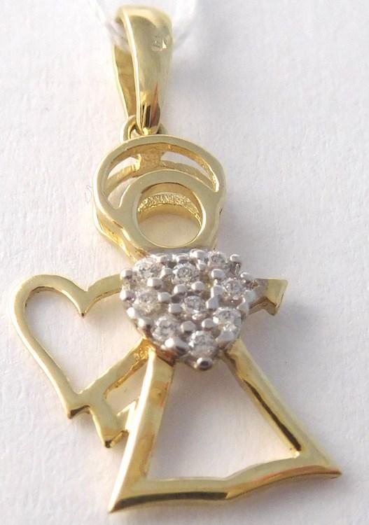 Zlatý přívěsek - zlatý andělíček se zirkony pro štěstí 585/0,86gr H803 (POŠTOVNÉ ZDARMA!!)