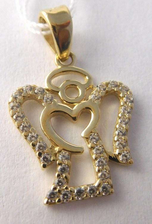 Zlatý přívěsek - zlatý andělíček posetý zirkony pro štěstí 585/1,04gr H804 (POŠTOVNÉ ZDARMA!!)