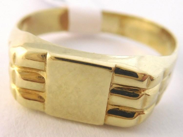 Pánský mohutný gravírovaný zlatý prsten vel.62 585/2,85gr T242