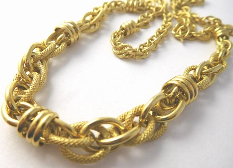 Obrovský masivní mohutný zlatý náhrdelník s gravírováním 585/13,75gr 50cm T270