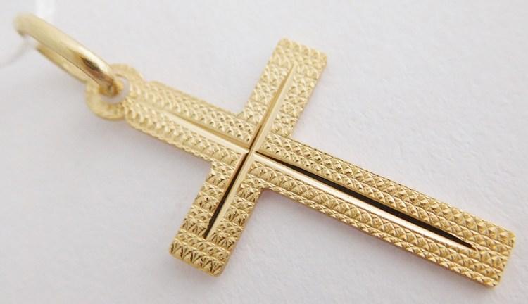 Gravírovaný zlatý křížek - přívěsek 25x14mm 585/0,54gr H821