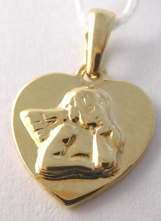 Zlatý andělíček gravírovaný v srdíčku (přívěsek) 585/1,00gr H842 ( POŠTOVNÉ ZDARMA)