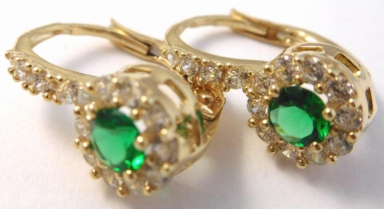 Mohutné zlaté náušnice se zirkony a zelenými smaragdy 585/2,72gr H848