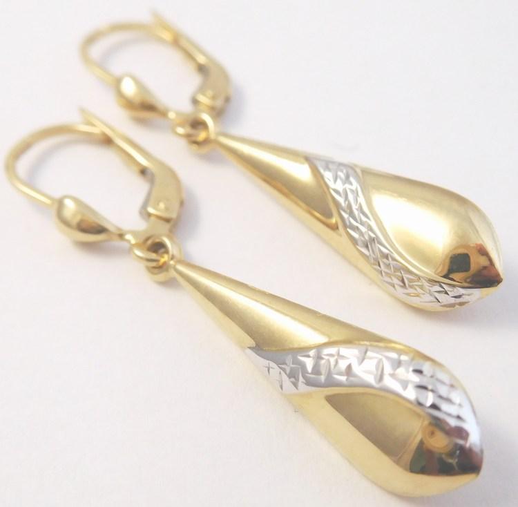 Zlaté visací náušnice z bílého a žlutého zlata s gravírováním 585/2,11gr H851 (POŠTOVNÉ ZDARMA!!!)