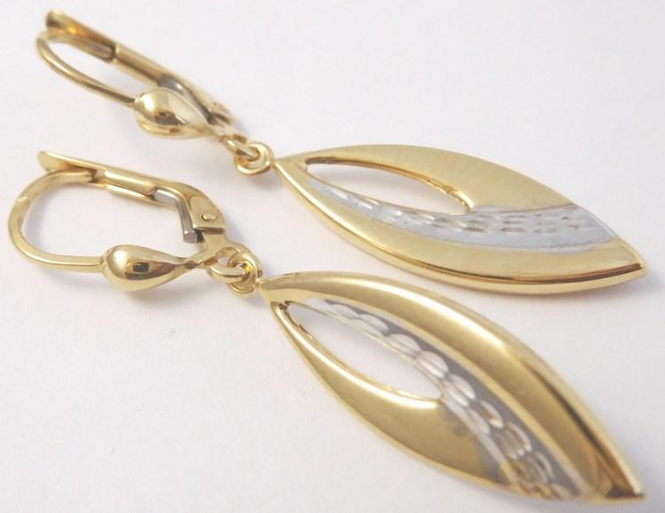 Gravírované zlaté visací náušnice z bílého a žlutého zlata 585/2,38gr H854 (POŠTOVNÉ ZDARMA!!!)