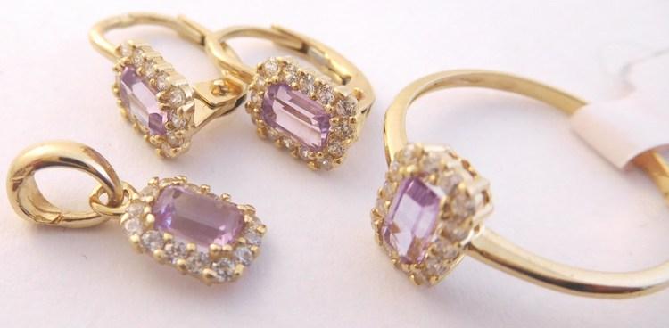 93f68084f Zlatá souprava s fialovými ametysty (náušnice,přívěsek,prsten) 585/3,84gr  H863