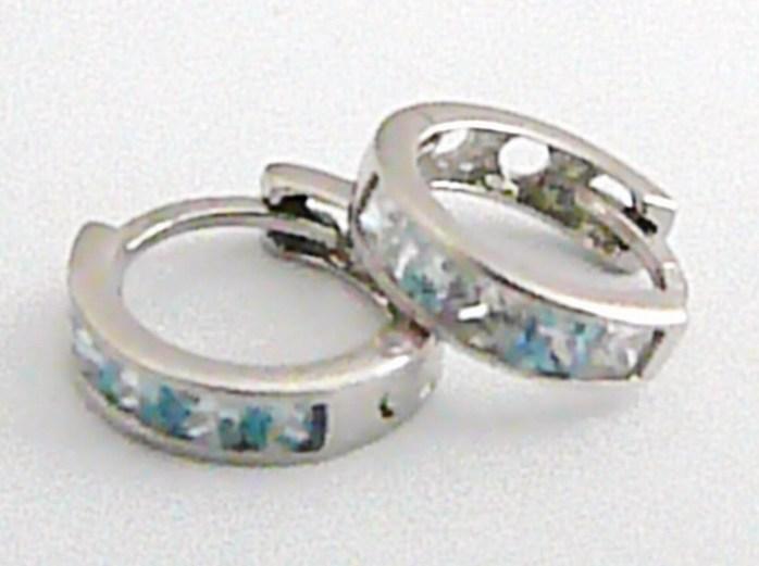 Zlaté náušnice - kroužky z bílého zlata s modrými zirkony 585/1,27g pr.10mm H569