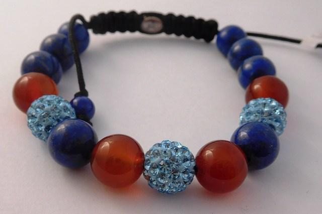 Náramek s pravými drahými kameny v dárkovém balení (červeno-modrý)