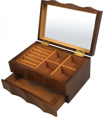 Dvoupatrová zvlněná dřevěná šperkovnice 81144/16721