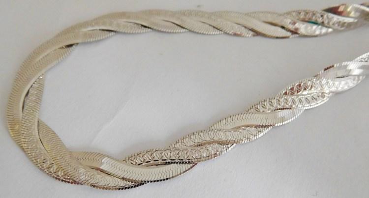 Stříbrný pletený masivní náramek - rhodiovaný 19cm 5,98gr 030425600027