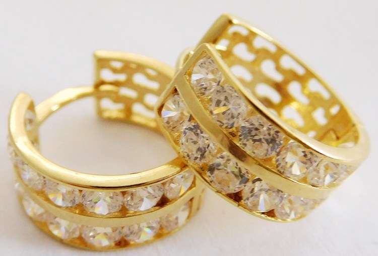 Velké mohutné zlaté kruhy se zirkony (dvě řady) 28ks 585/2,15gr 1136043