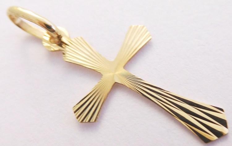 Gravírovaný zlatý křížek ze žlutého zlata 22 x 14mm 585/0,37gr H878