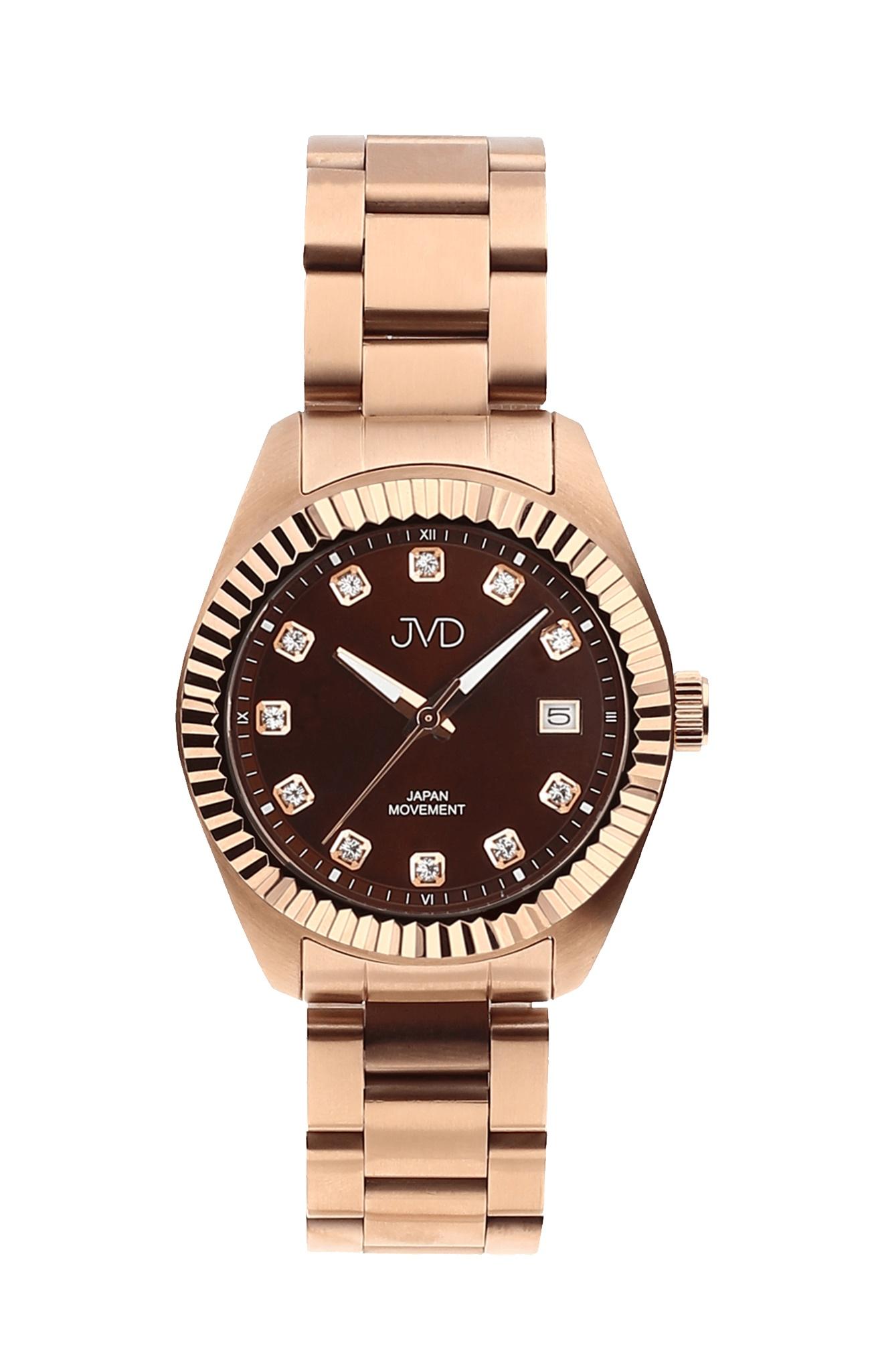 Dámské zlacené ocelové moderní náramkové hodinky JVD JC579.3 ... fa8585fef6