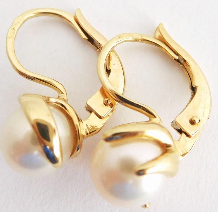 Masivní zlaté náušnice s bílými pravými kultivovanými perlami 585/3,56gr H890