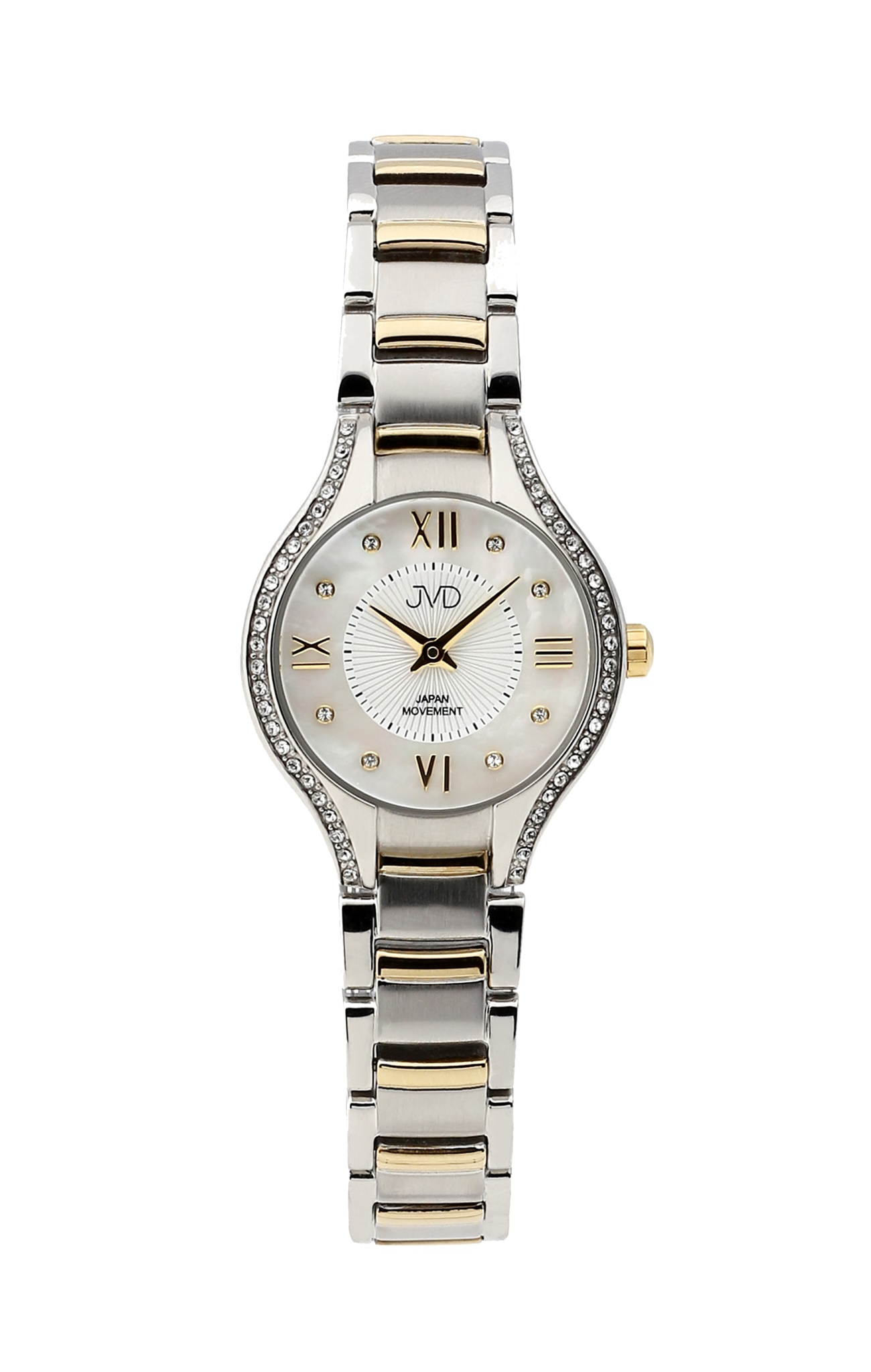 Dámské ocelové zlacené moderní hodinky JVD JC118.3 se zirkony 4ee8f9e694d
