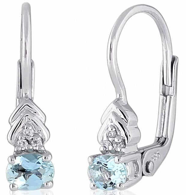 Luxusní zlaté diamantové náušnice s diamanty, pravými modrými akvamaríny 3880148