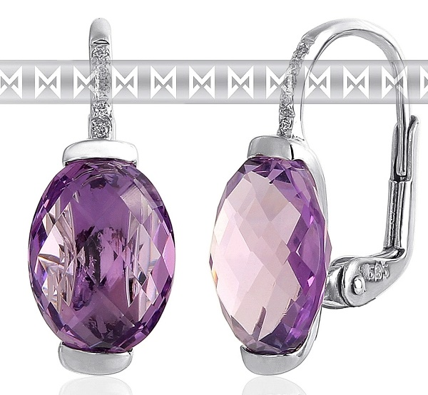 Dámské zlaté diamantové náušnice s diamanty a fialovými ametysty 3880440 (3880440 - POŠTOVNÉ ZDARMA!!!)