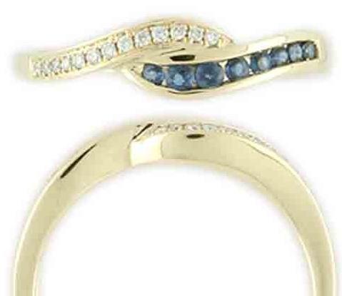 Zlatý prsten posetý brilianty - diamanty a modrými safíry vel. libovolná 3810475