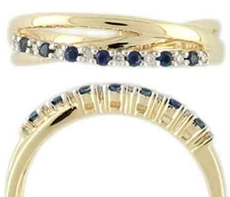 Zlatý prsten posetý brilianty - diamanty a modrými safíry vel. libovolná 3810488