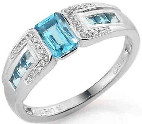 Luxusní zlatý prsten s pravými diamanty a modrým topazem 3861721 (3861721, blue TOPAZ - POŠTOVNÉ ZDARMA!!! velikost libovolná)