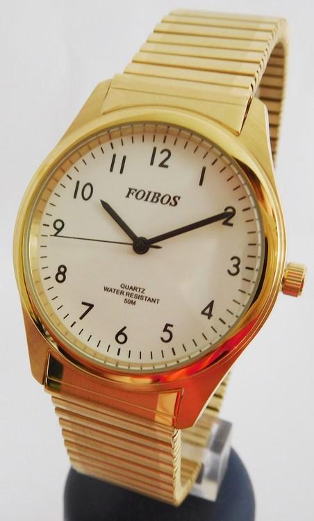 Pánské zlacené ocelové hodinky Foibos 7285.1 s natahovacím páskem (natahovací pásek - libovolná velikost zápěstí)