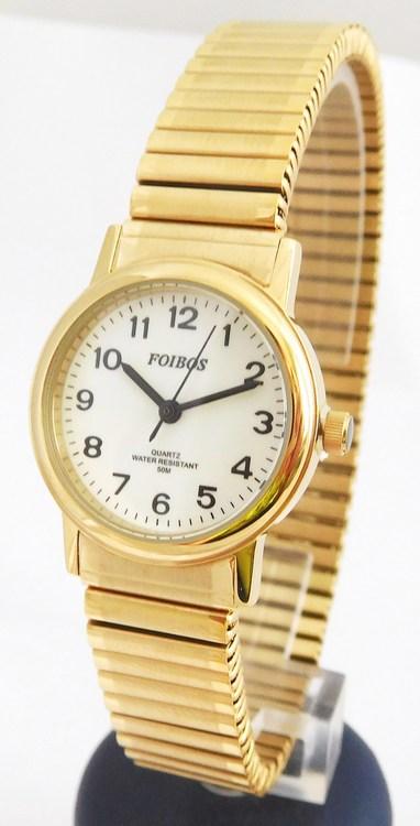 Dámské zlaté ocelové hodinky Foibos 7432.3 s natahovacím páskem (natahovací pásek - libovolná velikost zápěstí)