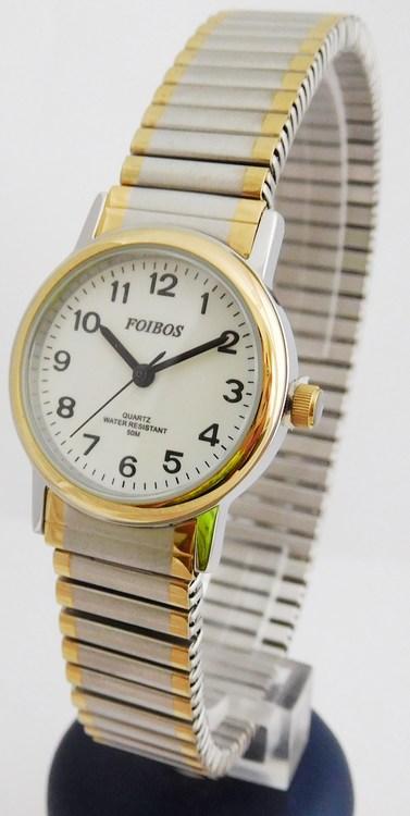 Dámské zlato-stříbrné ocelové hodinky Foibos 7432.2 BICOLOR (natahovací pásek - libovolná velikost zápěstí)