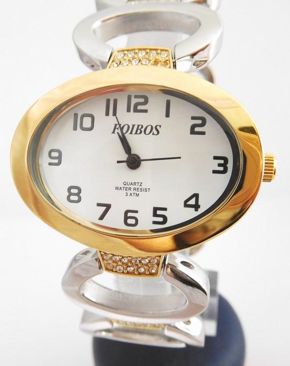Dámské šperkové bicolor hodinky s kamínky na pásku Foibos 52421 (POŠTOVNÉ ZDARMA!! - bicolor (stříbrno - zlaté hodinky))