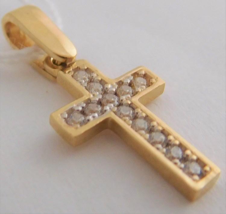 Zlatý křížek ze žlutého zlata - přívěsek se zirkony 12ks 585/0,86gr H904
