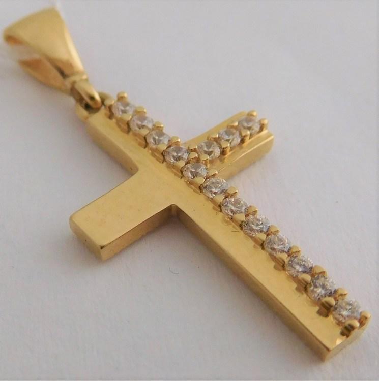 Zlatý křížek ze žlutého zlata - přívěsek se zirkony 16ks 585/1,14gr H905