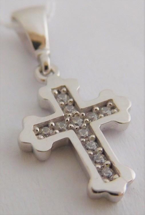 Zlatý křížek z bílého zlata - přívěsek posetý 11ks čirých zirkonů 585/0,81g H907